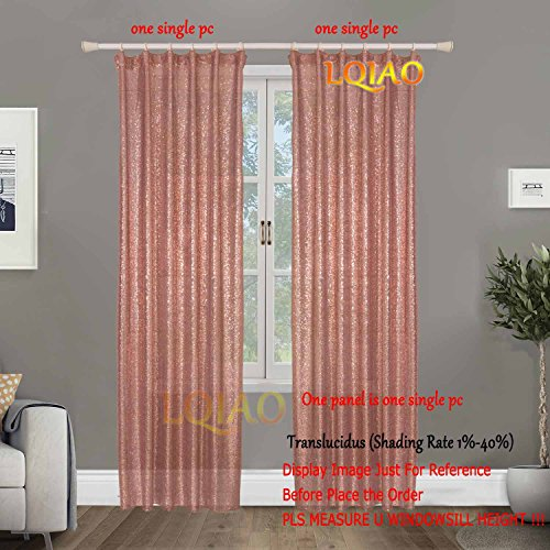 LQIAO 2017 New Sequin Rose Gold Curtains 50x84in Sparkly Rose Gold Fabric Photography Backdrop for Bedroom, Kitchen, Kids Room or Living Room,1 Panel Drapes 50-Inch-by-84-Inch Hooks Style Possible