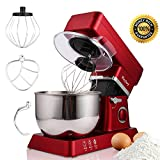 Stand Mixer, 600W Tilt-Head Kitchen Electric Food Mixer with 6-Speed Control, 5-Quart Stainless Steel Bowl, Dough Hook, Whisk, Beater, Splash Guard (red) Review