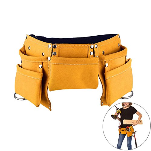 Diy Construction Worker Halloween Costume (Messar Children's Leather Tool Belt, Kids Leather Working Tool Belt Child's Tool Apron Pouch Bag for Youth Costumes Dress Up Construction Role Play)
