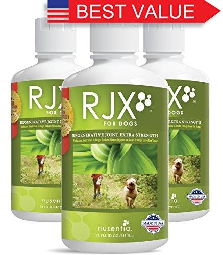 Dog Joint Supplements (96 fl oz) - Liquid RJX for Dogs ON SALE! - Complete Canine Joint Support Triple Action Formula with MSM, Glucosamine, & Chondroitin - Hip & Joint Repair - Natural Holistic Liquid Supplements Made in USA at GMP Certified Facility (3  by NUSENTIA