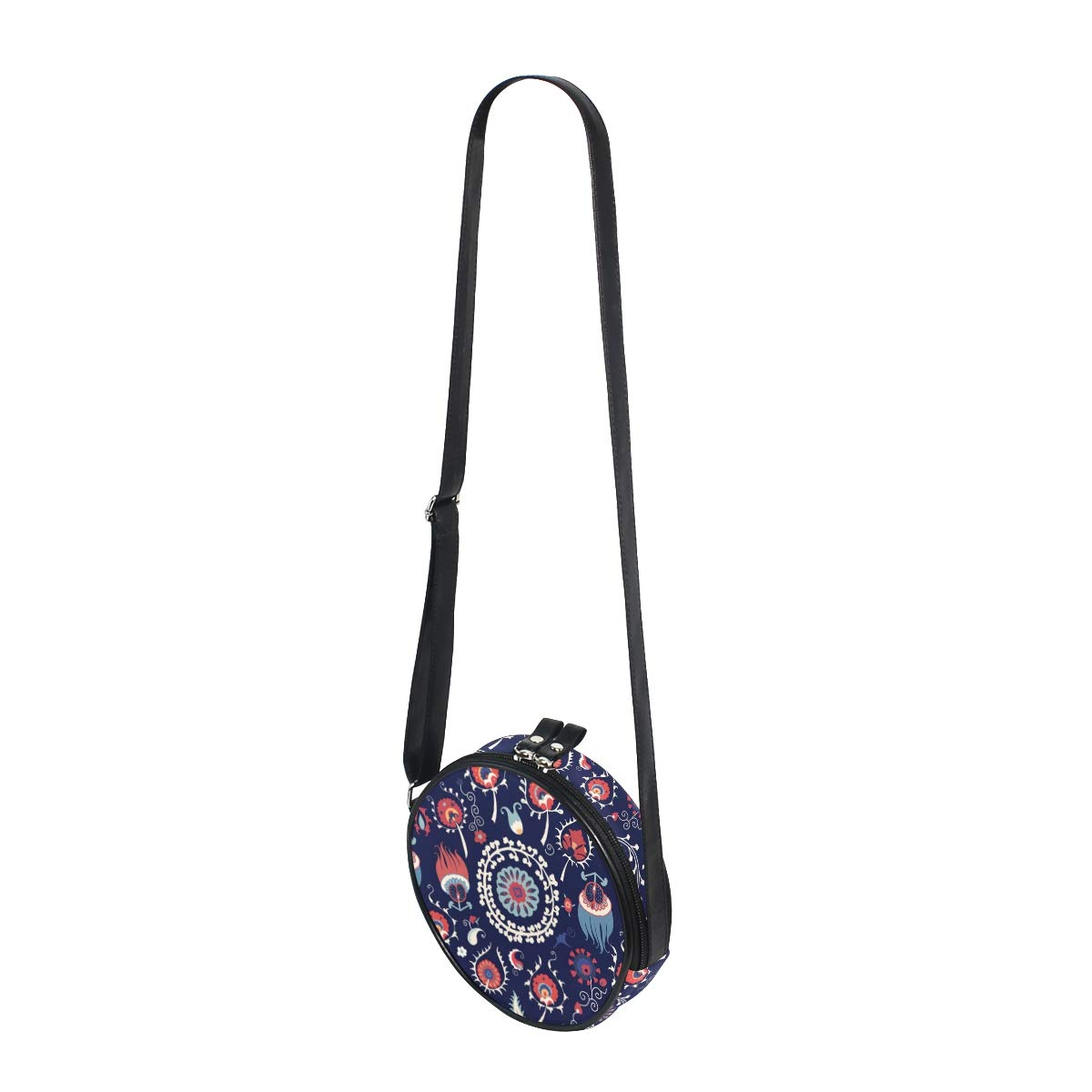Vector Ethnic Style Floral Seamless Pattern Super Cute Design Small Canvas Messenger Bags Shoulder Bag Round Crossbody Bags Purses for Little Girls Gifts