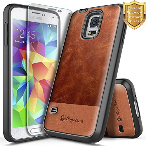 Galaxy S5 Case w/[Tempered Glass Screen Protector], NageBee Premium [Cowhide Leather] Heavy Duty Armor Shockproof Dual Layer Hybrid Rugged Durable Case Designed for Samsung Galaxy S5 -Brown