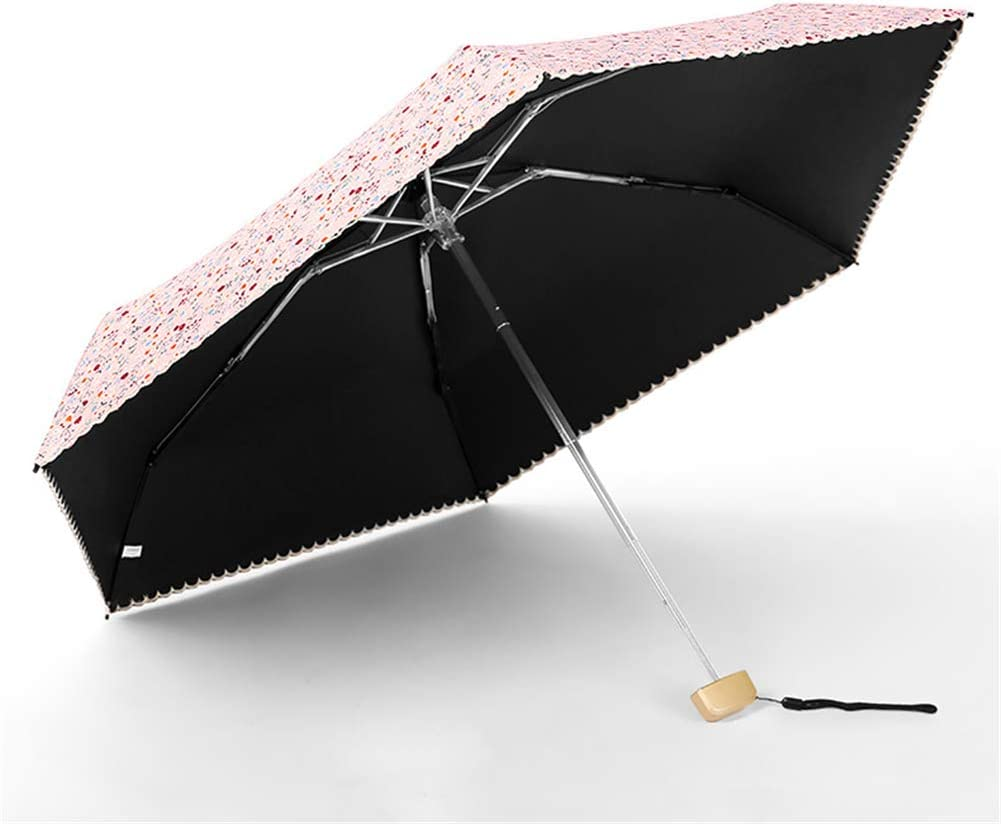 ZWYY Travel Umbrella Women Anti-Uv Waterproof Sun Umbrellas Fashion Folding Rain Umbrella Outdoor Sunscreen Windproof Parasol,Navy