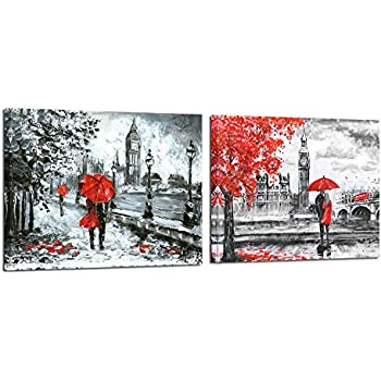 Kreative arts red umbrella couple painting canvas art wall decor print romantic london street landscape