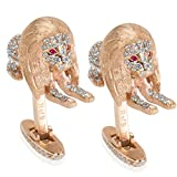 BRAND NEW Lion Diamond Cufflinks with Ruby Eyes in 18k Rose Gold (2.39 CTW)