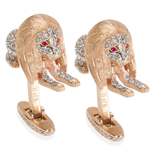 BRAND NEW Lion Diamond Cufflinks with Ruby Eyes in 18k Rose Gold (2.39 CTW) by Loved Luxuries