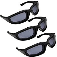 3 Pair Motorcycle Riding Glasses for Half Helmet 3 Pairs Smoke Sunglasses from grinderPUNCH