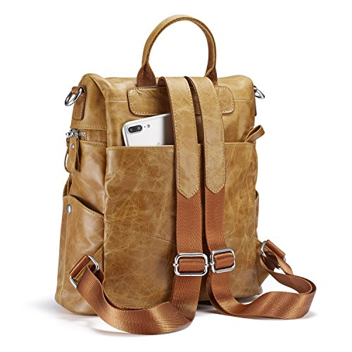 Lecxci Women Large Multi-pocket Lightweight Genuine Leather Backpack Shoulder Bag Ladies Fashion Schoolbag Travel Bag Casual Daypack(Wax Leather,Brown) by Lecxci (Image #5)