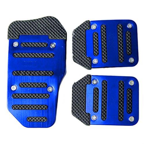 - Fochutech 3 Pcs Nonslip Pedal Foot Brake Accelerator Cover Set for Car Auto Vehicle Automatic Aluminium (Blue)