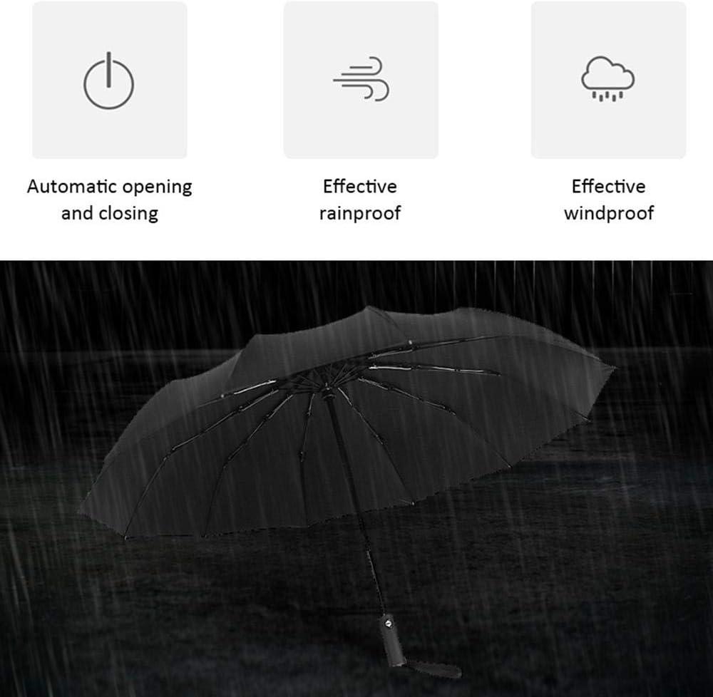verde con copertura per ombrello in pelle 12 Stecche in Fibra Solida e Tessuto ad Alta densit/à Apertura e Chiusura Automatica Super Antivento e Impermeabile FOONEE Ombrello Pieghevole