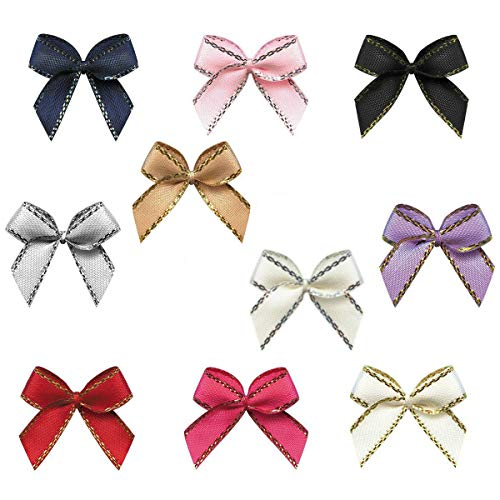 Aysekone 100 Pieces Mini Metallic Edge Satin Bowknot Flowers DIY Craft Ribbon Bow Appliques for Sewing,Scrapbooking,Wedding,Gift Decoration (Mixed 10 Colors)