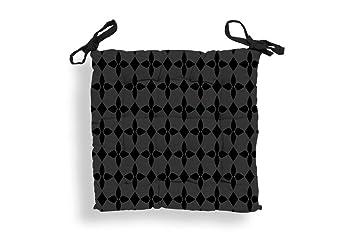 Cojín de Silla en capitoné de algodón DAMIER Negro: Amazon ...