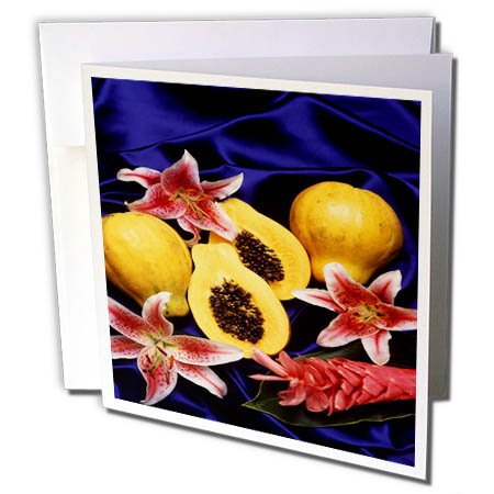 3dRose TDSwhite – Farm and Food - Food Fresh Cut Papayas - 12 Greeting Cards with Envelopes (gc_285139_2) by 3dRose