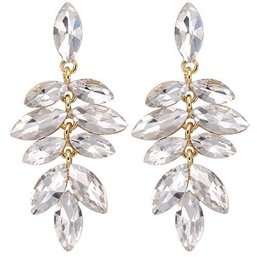 Stylebar Women Gold-tone Crystal Marquise Multi-Leaf Summer Chandelier Drop Dangling Earrings ()