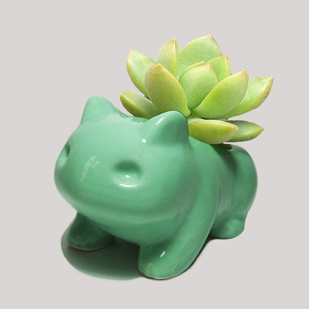 WLGQ Rishx Pokemon Flower Planter Bonsai Desktop Decor Ceramic Vase Home Office Garden Decoration Anime Bulbasaur Succulent Plant Pot
