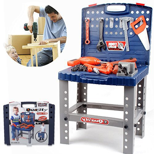 Liberty Imports Workbench for Kids Pretend Play-Construction Workshop Toolbench Stem Building Toys with Realistic (Play Workshop)
