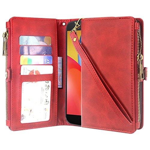 Moto E4 Plus Case, Linkertech Premium Leather Flip Zipper Wallet Case Cover with Stand Feature & Card Holder & Wrist Strap for Motorola Moto E Plus (4th Generation) USA Version (Zipper Red)