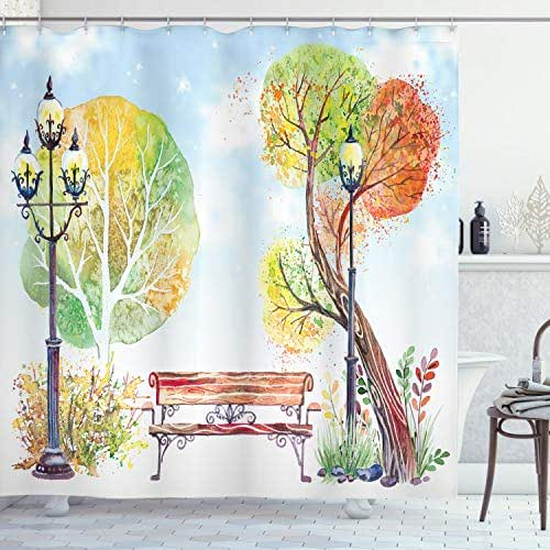 Ambesonne Lantern Shower Curtain, Colorful Fall Trees Wooden Bench in City Park with Blue Sky Autumn Season, Cloth Fabric Bathroom Decor Set with Hooks, 70