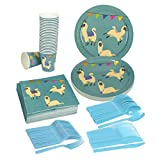 Search : Disposable Dinnerware Set - Serves 24 - Llama Party Supplies - Includes Plastic Knives, Spoons, Forks, Paper Plates, Napkins, Cups, Pink, Blue, White