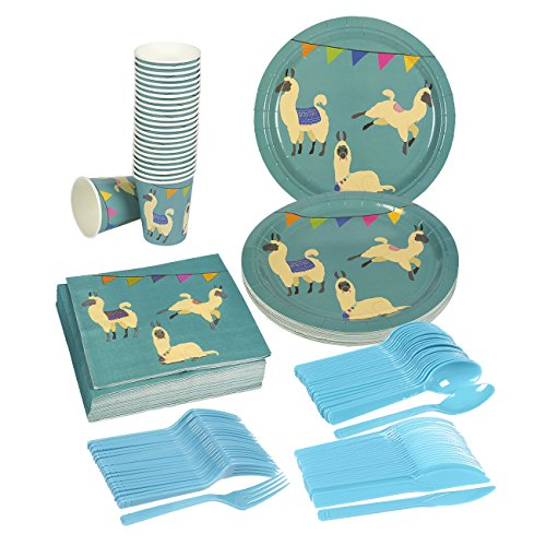 Check Out This Disposable Dinnerware Set - Serves 24 - Llama Party Supplies - Includes Plastic Knive...