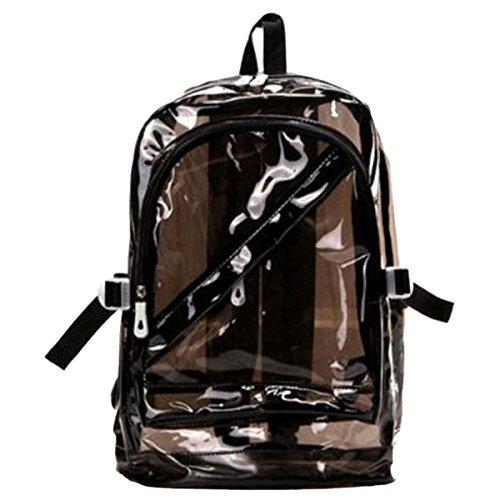 SODIAL(R) Nero Sacchetto scuola Sweety della ragazza delle donne zip moda trasparente zaino sacchetto di plastica Bookbag