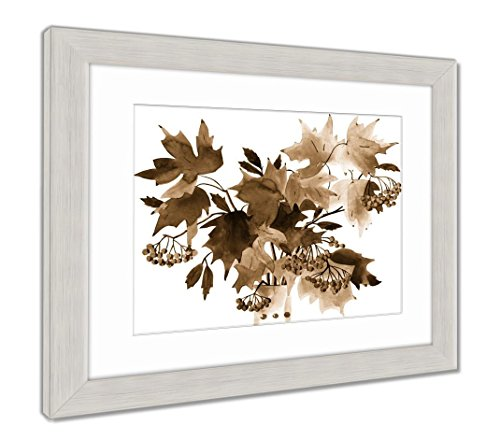 Ashley Framed Prints Reproduction of Painting Autumn Leaves, Wall Art, Sepia, 34x40 (Frame Size), Silver Frame, AG5804164 -