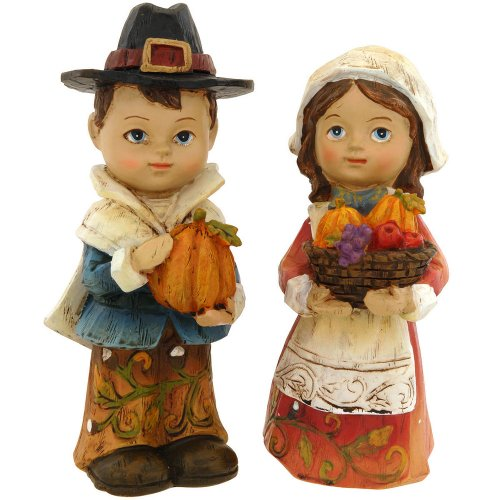 Kid Pilgrims Boy and Girl Fall Harvest Thanksgiving Figurines Set of -