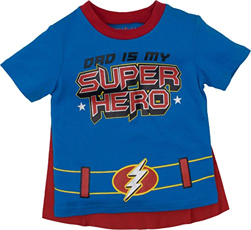 Funstuff Father's Day Super Hero Dad Toddler Boys' T-Shirt & Cape, Blue (3T)