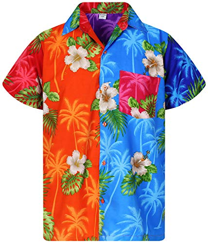 V.H.O. Funky Hawaiian Shirt, Shortsleeve, Mondy Small Flower, Multicolored, XL