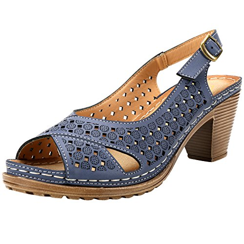 Toe Cut Dark Block Leroy Alexis Heel Peep Blue Women's Sandals Vamp Slingback Out t0TOtqWPn