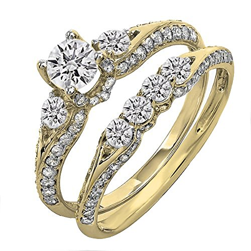 Dazzlingrock Collection 1.45 Carat (ctw) 14K Round Diamond 3 Stone Bridal Engagement Ring Set 1 1/2 CT, Yellow Gold, Size - Round Diamond 1.45 Ct