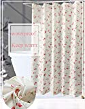 JaHGDU Shower Curtain Garden Series Waterproof Thickening Shower Curtain Bathroom Curtains Toilet Floral Pattern Fresh Pastoral Style Partition Curtain (Color : Wide200CMHigh200CM)