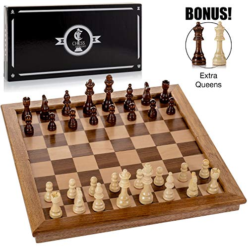 """Chess Armory Large 17"""" Wooden Chess Set with Felted Game"""