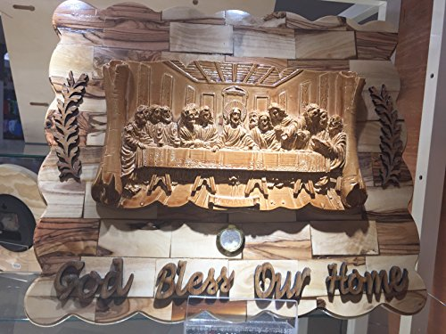 LAST SUPPER WITH JESUS AND HIS 12 DISCIPLES, HOLYWOOD ( OLIVE WOOD )