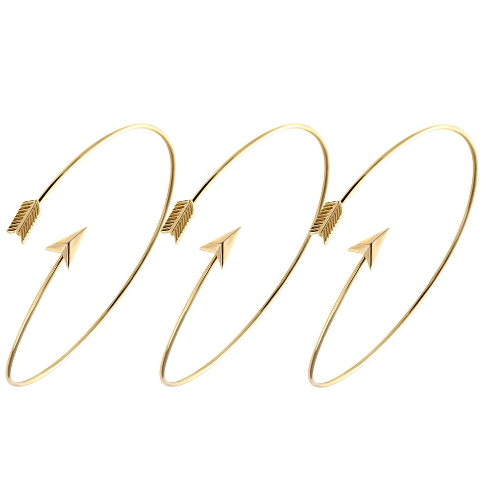 Adjustable Arrow Bracelets Simple Wrapped Bangles Women Jewelry 4 Tone for Choose (Gold 3 pcs set)