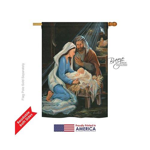 "Breeze Decor H114090 Nativity Winter Decorative Vertical House Flag, 28"" x 40"" inch, Multi-Color -  BD-NT-H-114090-IP-BO-DS02-US"