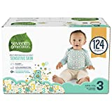 : Seventh Generation Baby Diapers for Sensitive Skin, Animal Prints, Size 3, 124 Count (Packaging May Vary)