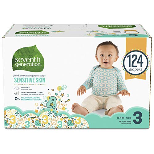 Seventh Generation Baby Diapers for Sensitive Skin, Animal Prints, Size 3, 124 count (Packaging May Vary)