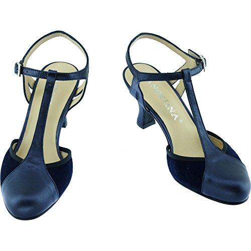 Chaussures Dance bleu Petites Marque Salon Pointures Bleu Femme Escarpins Talon Angelina® salomé de GALANE N Bride Cuir Moyen à Uz0n7qw