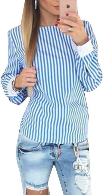 Blusas Mujer Primavera Otoño Modernas Elegante Rayado Moda Casual Camisas Vintage Casual Camicia Bluse Manga Larga Cuello Redondo V Sin Respaldo Bandage con Lazo Slim Fit Festiva Shirt Tops: Amazon.es: Ropa y