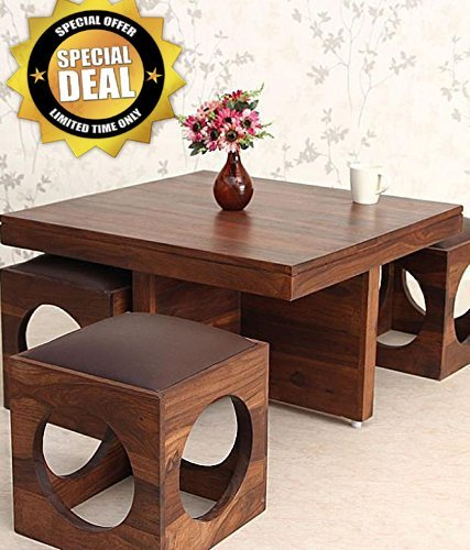 Unique Furniture Sheesham Wood Coffee Table For Living Room Center Table With 4 Stools Walnut Finish With Chocolate Brown Cushion