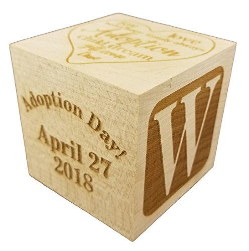 Custom Engraved Big Wood Baby Adoption Gotcha Day Birth Block (2.5