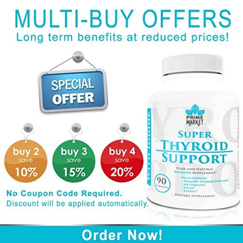 Thyroid Support Supplement with Iodine for Hypothyroidism | Natural Complex for Weight Loss | Supports Focus & Clarity |Vitamin B12, Zinc, Ashwagandha, Bladderwrack, Cayenne | Helps You Feel Amazing