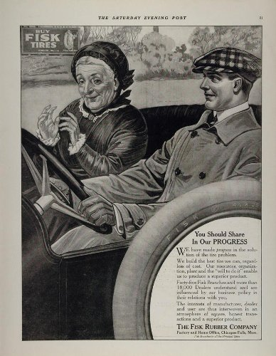 1914 Ad Fisk Rubber Car Tires Old Woman Young Man NICE - Original Print Ad from PeriodPaper LLC-Collectible Original Print Archive