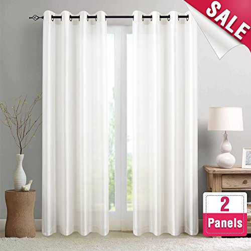 Faux Silk Curtains White 95 inches Long for Bedroom Dupioni Light Reducing Window Curtain Panels for Living Room Satin Drapes Privacy Window Treatments, 2 Panels, Grommet Top (Dupioni Curtains)