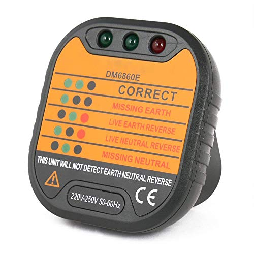 Socket Safety Tester Circuit Counter Instrument DM6860E Mains Socket Outlet Tester Polarity Check Meter 220V-250V UK Tofree