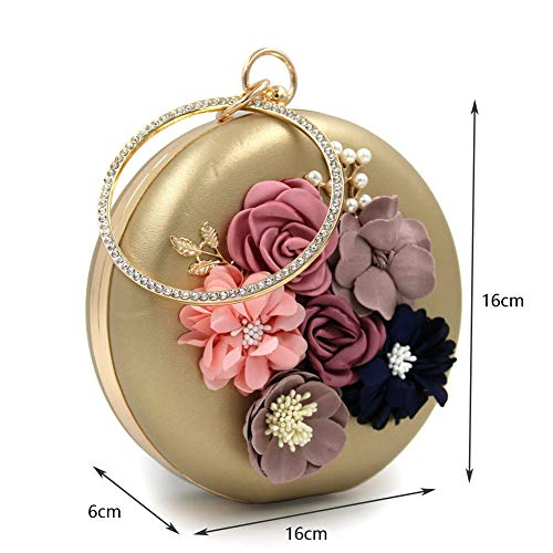 Ladies Floral Rotonda Fashion Onesize Tessuto Strass Dinner Pattern Borsa Dating Party Fiore Bag Pu Perline Bag Clutch Gold Dinner Strass Dinner rwIr6F
