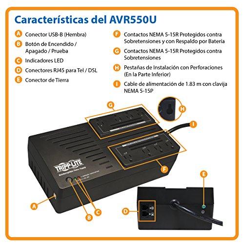 Tripp 550VA UPS Battery Backup, Line Interactive, USB, Ultra-Compact