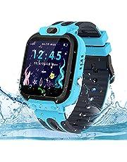 Smartwatch barnklocka tracker, vattentät barnsmartklocka för pojkar och flickor, barns smartklocka med samtalsfunktion och SOS-väckarklocka röstchatt, födelsedagspresent för barn 3-12 ans, blå