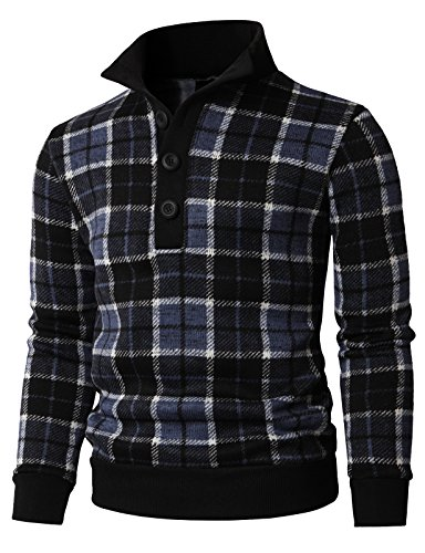 H2H Mens Fashion Plaid Patterned Button Down Henley Style Pullover Navy US XL/Asia 2XL (KMOSWL0219) (Korean Style Standing Collar)